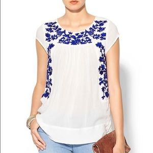 Sabine white and blue embroidered blouse